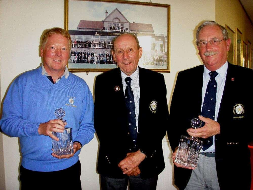 Winners, Mr Bentley and Mr Deeming with County President, Mr Peter Finnegan
