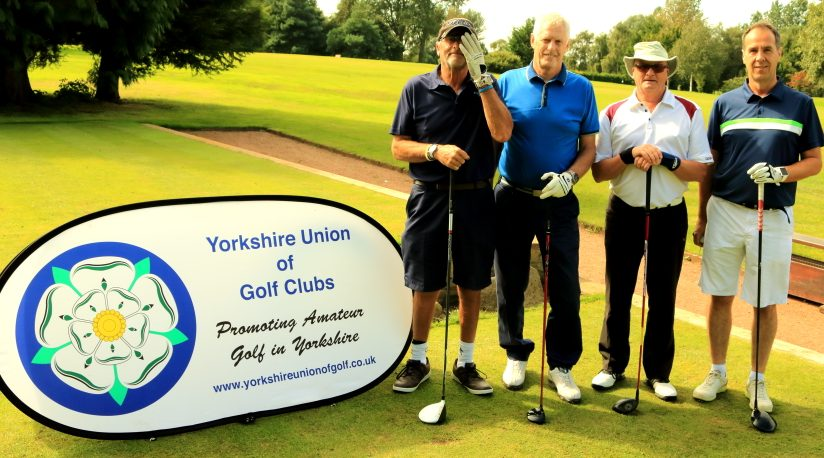 Messrs Bowmer, Beckwith, Bentley, Stocks on the 1st tee