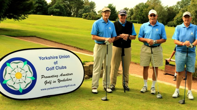 Messrs Woodburn, Poulson, Deeming and Makepeace on the 1st tee
