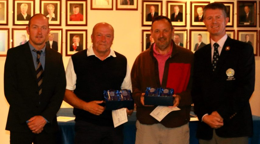 The Winners, Messrs Carr and Black receiving their prizes from the Hainsworth Park Vice captain, Steve Wilson, and YUGC President, Jonathan Plaxton