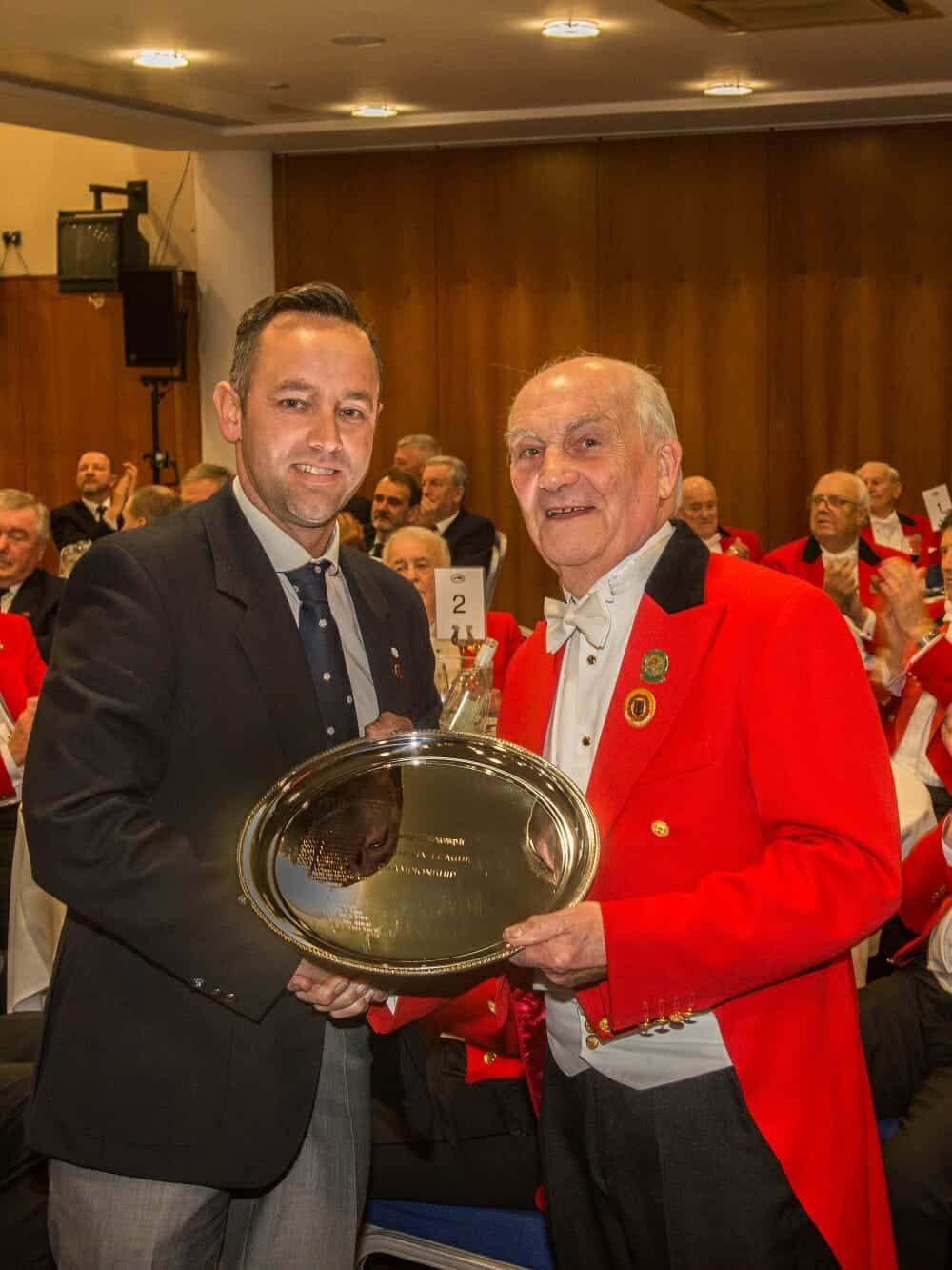 Clyde Camp presenting Northern Counties Salver to Darryl Berry