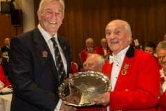 Clyde Camp presenting Northern Counties Seniors Salver to John Grimbleby