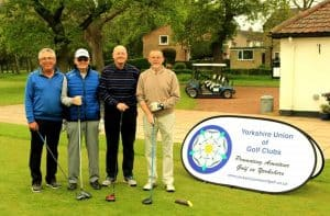 The winners, Messrs Keightley and Muir, on the first tee with playing partners Messrs Mullins and Fitzimmons