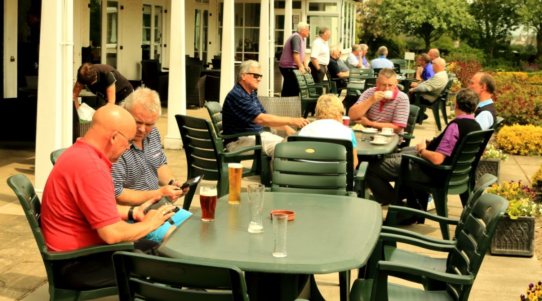 Refreshments on the patio, outside the splendid Harrogate clubhouse