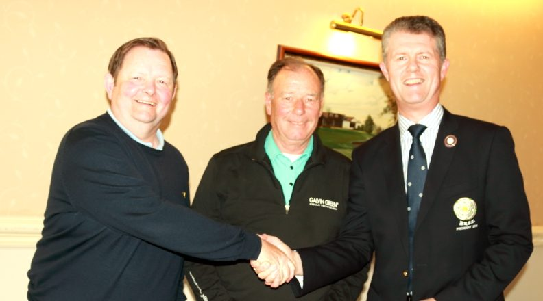 The President of the Yorkshire Union of Golf Clubs presents prizes to the 3rd place pair of Messrs Robinson and Spear