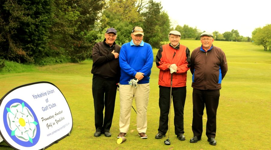 Messrs Hunt, Friar, McLoughlin and Haddon well wrapped up on the first tee