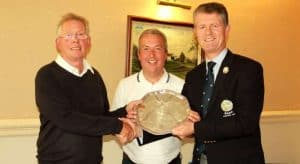 The County Members' SEN1 winners, Messrs Stevenson and Illingworth being presented with their trophy by the YUGC President, Mr Jonathan Plaxton