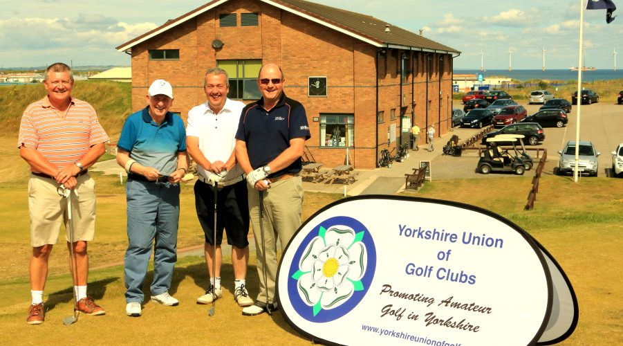 Messrs Hall, Duncan, Illingworth and Cave on the first tee