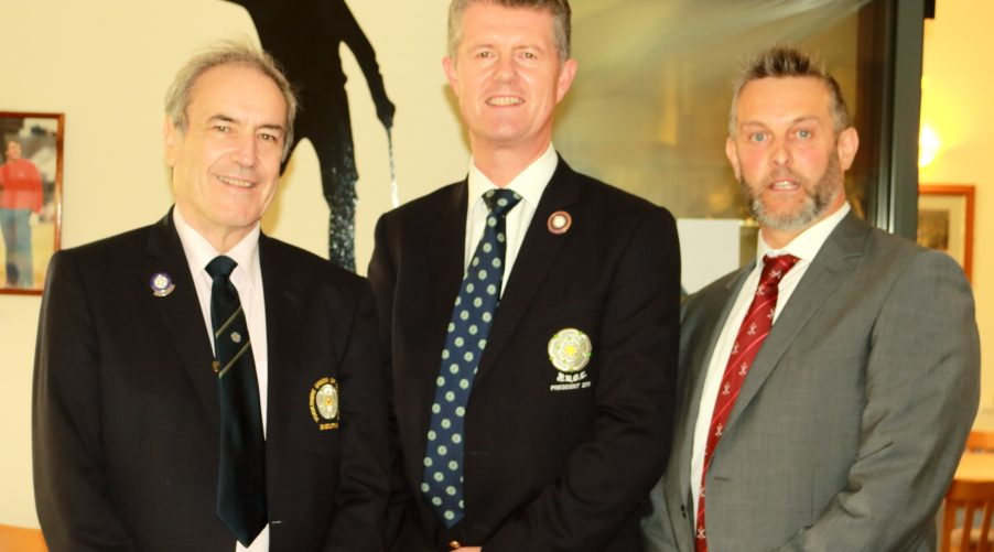 The Yorkshire Union of Golf Clubs President, Mr Jonathan Plaxton, centre, with Cleveland Club Captain, Mr Paul Cartwright, right, and County members' Secretary, Mr Paul Yates, left.