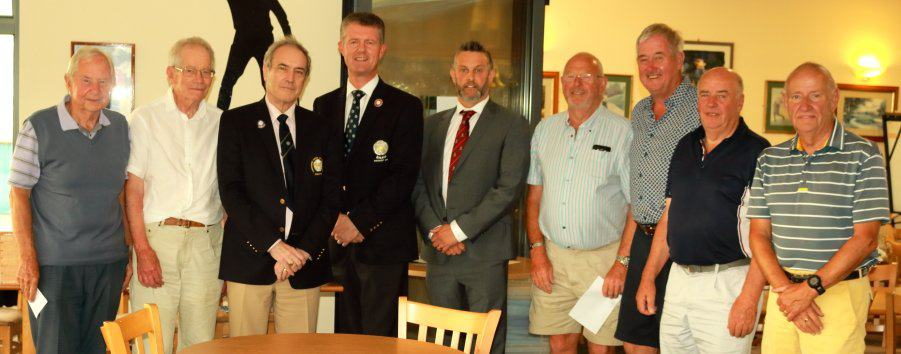 The winners, Dave and Tom Kelly, with Yorkshire County President Jonathan Plaxton and Skipton Club Captain Steve Clayton