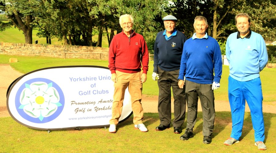 Messr Mackland, Railton, Johnson and Brierley on the first tee