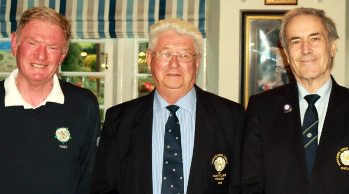 Past Yorkshire President Mr Peter Stelling, Past Hallowes Club Captain and Past President Dr Nigel Ogden and YUGC County Members Secretary Mr Paul Yates